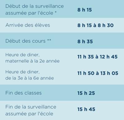 horaire primaire